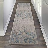 """Nourison TRA04 Tranquil Bohemian Floral Ivory Area Rug Runner 2'3"""" X 7'3"""", 2'3""""X7'3"""""""