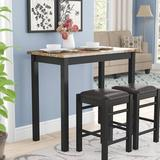 Winston Porter Moorehead 3 Piece Counter Height Dining SetWood/Upholstered Chairs in Black/Brown, Size 36.0 H x 22.0 W x 42.0 D in | Wayfair