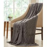 Modern Threads Throws Gray - Gray Diamond Cable-Knit Cotton Throw