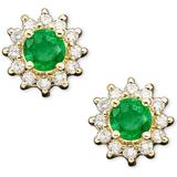 Emerald (1/2 Ct. T.w.) And Diamond Accent Stud In 14k Gold - Green - Effy Earrings