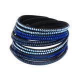 Barzel Women's Bracelets Black - Dark Blue & Black Wrap Bracelet With Swarovski Crystals