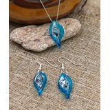 BeSheek Women's Earrings Aqua - Aqua & Sterling Silver Leaf Pendant Necklace & Drop Earrings