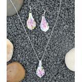 BeSheek Women's Earrings Pink - Pink & Sterling Silver Lily Pendant Necklace & Drop Earrings