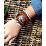 Details Designs Bracelets Brown/Silver - Silvertone & Leather Personalized Wrap Bracelet