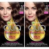 Garnier Olia Ammonia-Free Brilliant Color Oil-Rich Permanent Hair Color, 4.3 Dark Golden Brown (Pack of 2) Brown Hair Dye (Packaging May Vary)