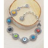 Ottoman Silver Collection Women's Bracelets - Multicolor & Sterling Silver Filigree Evil Eye Station Bracelet