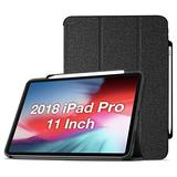 ProCase iPad Pro 11 Case 2018 Old Model with Apple Pencil Holder [Support Apple Pencil Charging], Protective Smart Cover Shell Stand Folio Case for Apple iPad Pro 11 Inch 2018 Release –Black