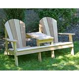 Rosalind Wheeler Celso Wood Adirondack Chair w/ Table Wood in Brown/White, Size 35.0 H x 68.0 W x 32.0 D in | Wayfair