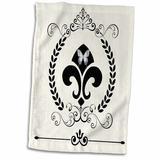 East Urban Home Fleur De Lis French Decor Tea Towel Microfiber/Terry/Cotton in Gray, Size 22.0 H x 15.0 W in   Wayfair
