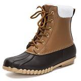 DKSUKO Women's Lace UP Two-Tone Rain Duck Boots (7 B(M) US, Brown)