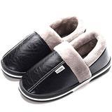 Women's Men's Winter House Warm Plush Slippers Suede Indoor Outdoor Casual Slip On Shoes Memory Foam Anti-Skid Rubber Sole Mules Clogs(5 M US Men - 6 M US Women,22.5 cm Heel to Toe Black