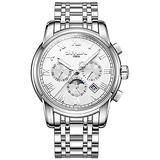 Luxuy Men's Automatic Watch Silver Stainless Steel Waterproof Multifunction Luminous White Dial Watch (Silver/White)