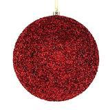 "Vickerman 531587-4"" Burgundy Beaded Ball Christmas Tree Ornament (6 pack) (N185665D)"
