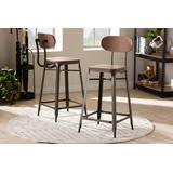 Baxton Studio Varek Vintage Rustic Industrial Style Bamboo & Rust-Finished Steel Stackable Counter Stool Set - 95-T-5846-Rust-BS