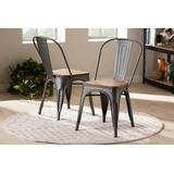 Baxton Studio Henri Vintage Rustic Industrial Style Tolix-Inspired Bamboo & Gun Metal-Finished Steel Stackable Dining Chair Set of 2 - 95-T-5816-Gun-DC