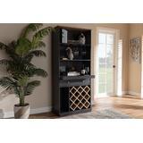 Baxton Studio Mattia Modern and Contemporary Dark Grey and Oak Finished Wood Wine Cabinet - 95-SEWC16006WI-Dark Grey/Hana Oak