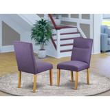 "Charlton Home® Damron Upholstered Solid Wood Parsons Chair Upholstery Color: Dahlia in Dahlia/Oak, Size 38""H X 20""W X 25""D 