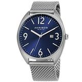 Akribos XXIV Men's Watch AK1026– Fashionable Stainless Steel Mesh Bracelet Sunburst Dial and Date Window (Silver Bracelet & Blue Dial)