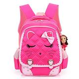 Hyundly Cat Face Waterproof School Backpack for Girls Book Bag (Large, Rose red1)