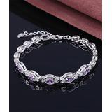 Amy and Annette Women's Bracelets Silver - Lab-Created Tanzanite & Sterling Silver Bracelet