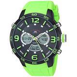 U.S. Polo Assn. Men's Silver Tone Metal Analog-Quartz Watch with Rubber Strap, Green, 21 (Model: US9543)