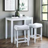 Nathan James Viktor 3 Piece Dining Set, Heigh Kitchen Counter Pub or Breakfast Table with Marble Top and Fabric Wood Base Seat, Light Gray/White