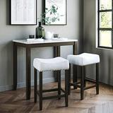 Nathan James Viktor 3 Piece Set, Heigh Kitchen Counter Pub Dining or Breakfast Table with Marble Top Fabric Wood Base Seat, Light Gray/Dark Brown