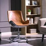 New Pacific Direct Abner PU Leather Swivel Chair,Aluminum Legs,Distressed Caramel
