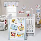 AE 5 Piece Baby Grey White Dr Seuss Characters Crib Bedding Set, Newborn Orange Books Cartoon Nursery Bed Set, Childrens Iconic Stories Lorax Animal Infant Child Quilt Blanket, Cotton