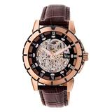 REIGN Men's Watches Rose - Rose Goldtone & Black Philippe Leather-Strap Automatic Skeleton Watch