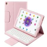iPad Keyboard Case 9.7 for iPad 6th 2018/iPad Pro 5th Generation 2017 Leather Stand Durable Detachable Magnetic Smart Cover Auto Sleep/Wake Wireless Bluetooth Keyboard Compatible iPad Air 2/1 (Pink)