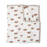 """Little Unicorn Extra Soft Cotton Muslin Large Quilt Blanket – 60""""x 72""""- 100% Cotton – Machine Washable – Playful Designs - 4 Lightweight, Breathable Layers – for Boys & Girls (Bison)"""