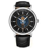 Stuhrling Original Mens Day/Night Dress Watch - Stainless Steel Case and Leather Band - Analog Dial with Date and Day/Night Complication Duet Mens Watches Collection (Black)
