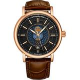 Stuhrling Original Mens Day/Night Dress Watch - Stainless Steel Case and Leather Band - Analog Dial with Date and Day/Night Complication Duet Mens Watches Collection (Rose Gold)