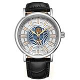 Stuhrling Original Mens Day/Night Dress Watch - Stainless Steel Case and Leather Band - Analog Dial with Date and Day/Night Complication Duet Mens Watches Collection (Silver)