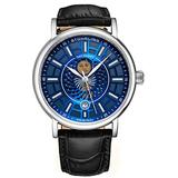 Stuhrling Original Mens Day/Night Dress Watch - Stainless Steel Case and Leather Band - Analog Dial with Date and Day/Night Complication Duet Mens Watches Collection (Blue)