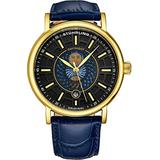 Stuhrling Original Mens Day/Night Dress Watch - Stainless Steel Case and Leather Band - Analog Dial with Date and Day/Night Complication Duet Mens Watches Collection (Blue/Gold)