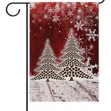 Wamika Happy New Year House Flag 28 x 40 Double Sided, Christmas Tree Winter White Snowflake Pine Yard Outdoor Garden Flags Welcome Holiday Winter Spring Banner Party Home Decor Christmas Decorations