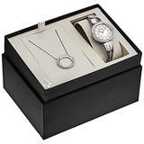 Bulova Box Set Quartz Ladies Watch, Stainless Steel Crystal, Silver-Tone (Model: 98X121)