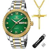 OLEVS Mens Watch Luxury Diamonds Green Dial Day Date Wrist Watches for Men Big Face Gold Bezel Luminous, Male Business Casual Analog Quartz Watch Waterproof with Stainless Steel Band Classic Gifts