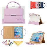Uliking iPad 2/3/4 Folio Case Handbag, Multi-Angle Viewing Stand PU Leather Magnetic Protective Cover with Handle Document Pocket Hand Strap Stylus Pencil for Apple iPad 2,iPad 3,iPad 4, Pink Bowknot