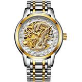 Luxury Automatic Mechanical Gold Dragon Watch Mens Chinese Style Watches Stainless Steel Waterproof Watch (Silver White)