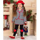 Mia Belle Girls Girls' Blazers Black - Black & White Houndstooth Jacket & Skirted Leggings - Toddler & Girls