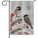 Wamika Winter House Flag 28 x 40 Double Sided, Black Tow Chickadees in Winter Snow Berry Welcome Holiday Yard Outdoor Garden Flags Banner Party Home Decor Christmas Decorations