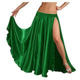 "Indian Trendy 36"" Long Women's Satin 2 Slit Full Skirt Belly Dance Gypsy Tribal 9 Yard Panel Jupe Flamenco Boho Rock (One Size, Green)"