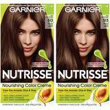 Garnier Nutrisse Nourishing Permanent Hair Color Cream, 513 Medium Nude Brown (2 Count) Brown Hair Dye