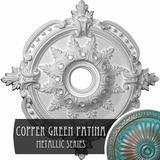 "Ekena Millwork Benson Classic Ceiling Medallion Finish: Copper Green Patina, Urethane, Size 28""H X 28""W X 1""D | Wayfair CM28BECGS"