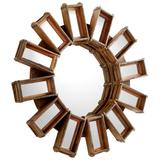 "Cyan Design 09764 Zenobia 46"" Tall Sunburst Flat Front Wood Framed Wall Mounted Mirror Rustic"