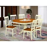 East West Furniture 7 PC Kenley Dinette Table with One 18in Leaf & 6 Solid Wood Seat Chairs in a Buttermilk & Cherry Color, KEAN7-WHI-W