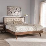 Baxton Studio Soloman Mid-Century Modern Light Beige Fabric and Walnut Brown Finished Wood King Size Platform Bed/King/Mid-Century/Beige/Medium Wood/Fabric Linen Polyester 100%/Rubber Wood/MDF/Foam